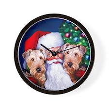 Santa's Airedales Christmas Wall Clock