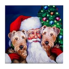 Santa's Airedales Christmas Tile Coaster