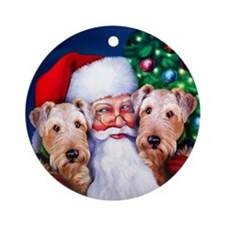 Santa's Airedales Christmas Ornament (Round)