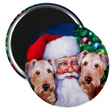Santa's Airedales Christmas Magnet
