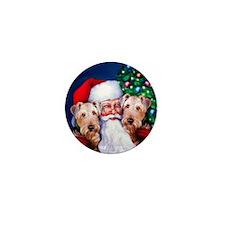 Santa's Airedales Christmas Mini Button