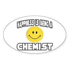 """""""Happiness...Chemist"""" Oval Decal"""