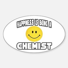 """Happiness...Chemist"" Oval Decal"