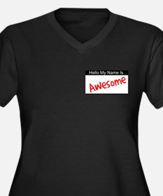 Hello my name is...Awesome Women's Plus Size V-Nec