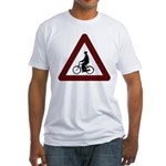 Caution: Dapper Cyclist Ahead - Fitted T-Shirt