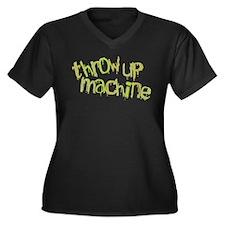 Throw Up Machine Women's Plus Size V-Neck Dark T-S