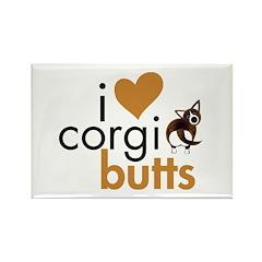 I Heart Corgi Butts - Brindle Cardi Rectangle Magn