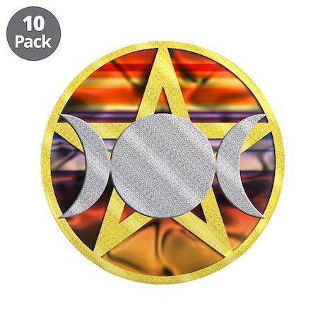 """Pentagram Triple Goddess 3.5"""" Button (10 pack)"""
