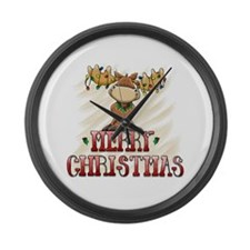 Merry Christmas Reindeer Large Wall Clock