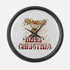 Merry Christmas Reindeer Large Wall Clock