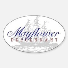 Mayflower Descendant - Oval Sticker (10 pk)