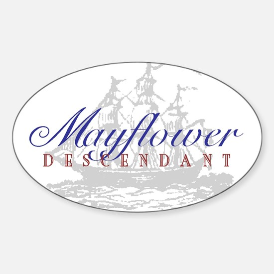 Mayflower Descendant - Oval Sticker (10 pk)