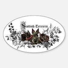 Scottish Terrier Floral Oval Decal