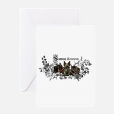 Scottish Terrier Floral Greeting Card