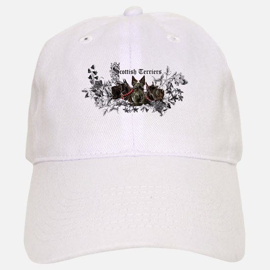 Scottish Terrier Floral Baseball Baseball Cap