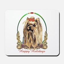 Yorkshire Terrier Dog Happy Holidays Mousepad