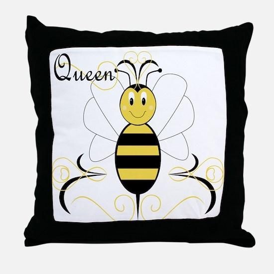 Smiling Bumble Bee Queen Bee Throw Pillow