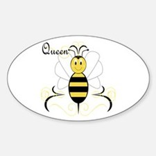 Smiling Bumble Bee Queen Bee Oval Decal