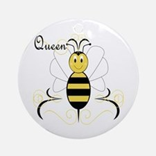Smiling Bumble Bee Queen Bee Ornament (Round)