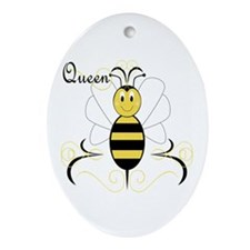 Smiling Bumble Bee Queen Bee Oval Ornament
