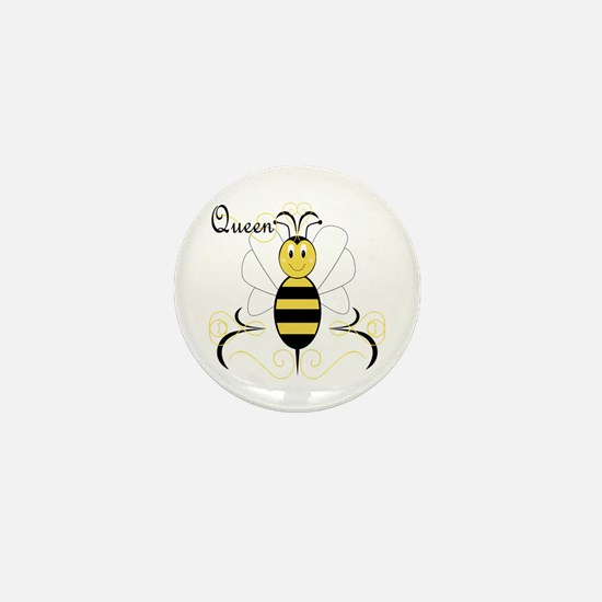 Smiling Bumble Bee Queen Bee Mini Button