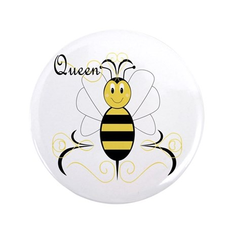 """Smiling Bumble Bee Queen Bee 3.5"""" Button"""