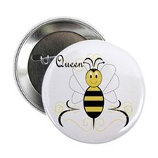 """Smiling Bumble Bee Queen Bee 2.25"""" Button (10 pack"""
