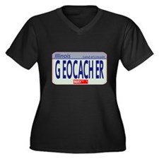 Geocacher Illinois Women's Plus Size V-Neck Dark T