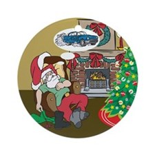 Santas Classic Car Ornament (Round)