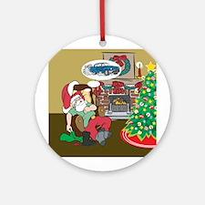 Santas Classic Car Ornament (Round)