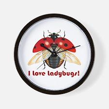 I Love Ladybugs Wall Clock