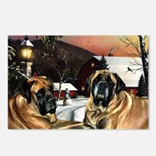 Cute Mastiff christmas Postcards (Package of 8)