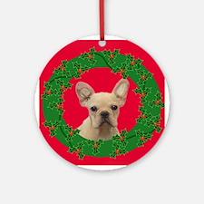 Happy Holidays French Bulldog Ornament (Round)