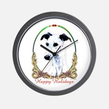 White Whippet Happy Holidays Wall Clock