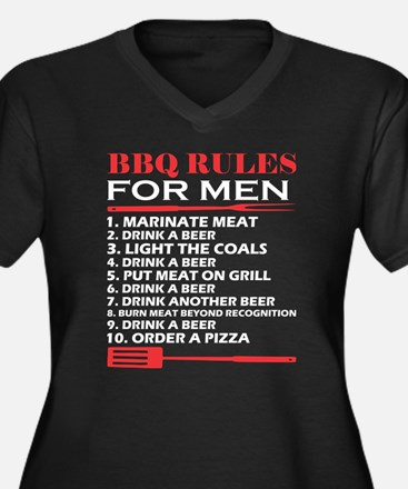 BBQ Rules For Men Drink A Beer B Plus Size T-Shirt