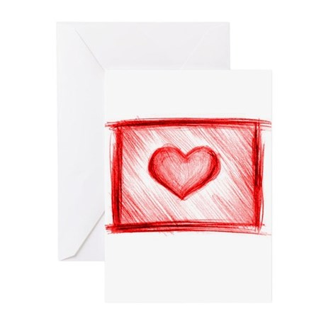 Love Heart Greeting Cards (Pk of 10)