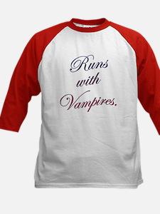 Runs with Vampires Kids Baseball Jersey