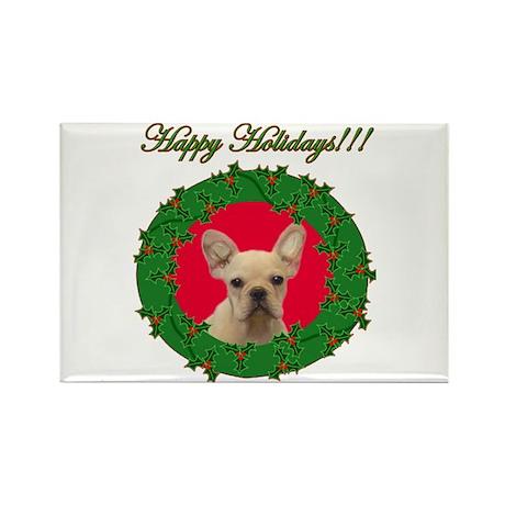Happy Holidays French Bulldog Rectangle Magnet
