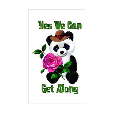 Yes We Can Get Along Rectangle Sticker