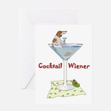 Red Piebald Cocktail Wiener Greeting Card