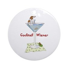 Red Piebald Cocktail Wiener Ornament (Round)