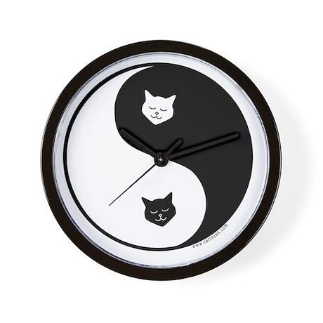 yin yang meow Wall Clock