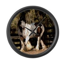 Cute Gypsy vanner horse Large Wall Clock