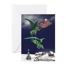 Santa's Dragon Sleigh Christmas Cards (Pk of 10)