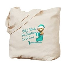 Bear In Stocking 1 (Ovarian Cancer) Tote Bag