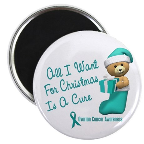 """Bear In Stocking 1 (Ovarian Cancer) 2.25"""" Magnet ("""