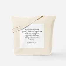 MATTHEW  28:8 Tote Bag