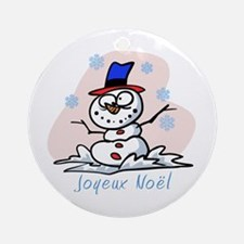 Merry French Snowman Ornament (Round)