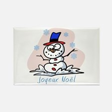 Merry French Snowman Rectangle Magnet