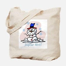 Merry French Snowman Tote Bag